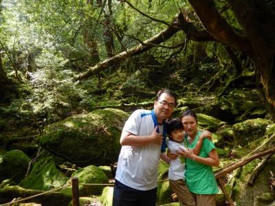 家族で白谷苔むす森にて